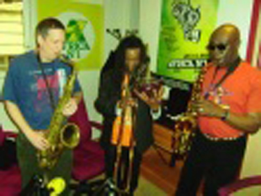 Pierre with Manu Dibango & Jon Handlesman on Africa No.1
